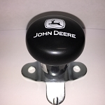 John Deere Steering Wheel Spinner, Current Logo in White on Black Knob
