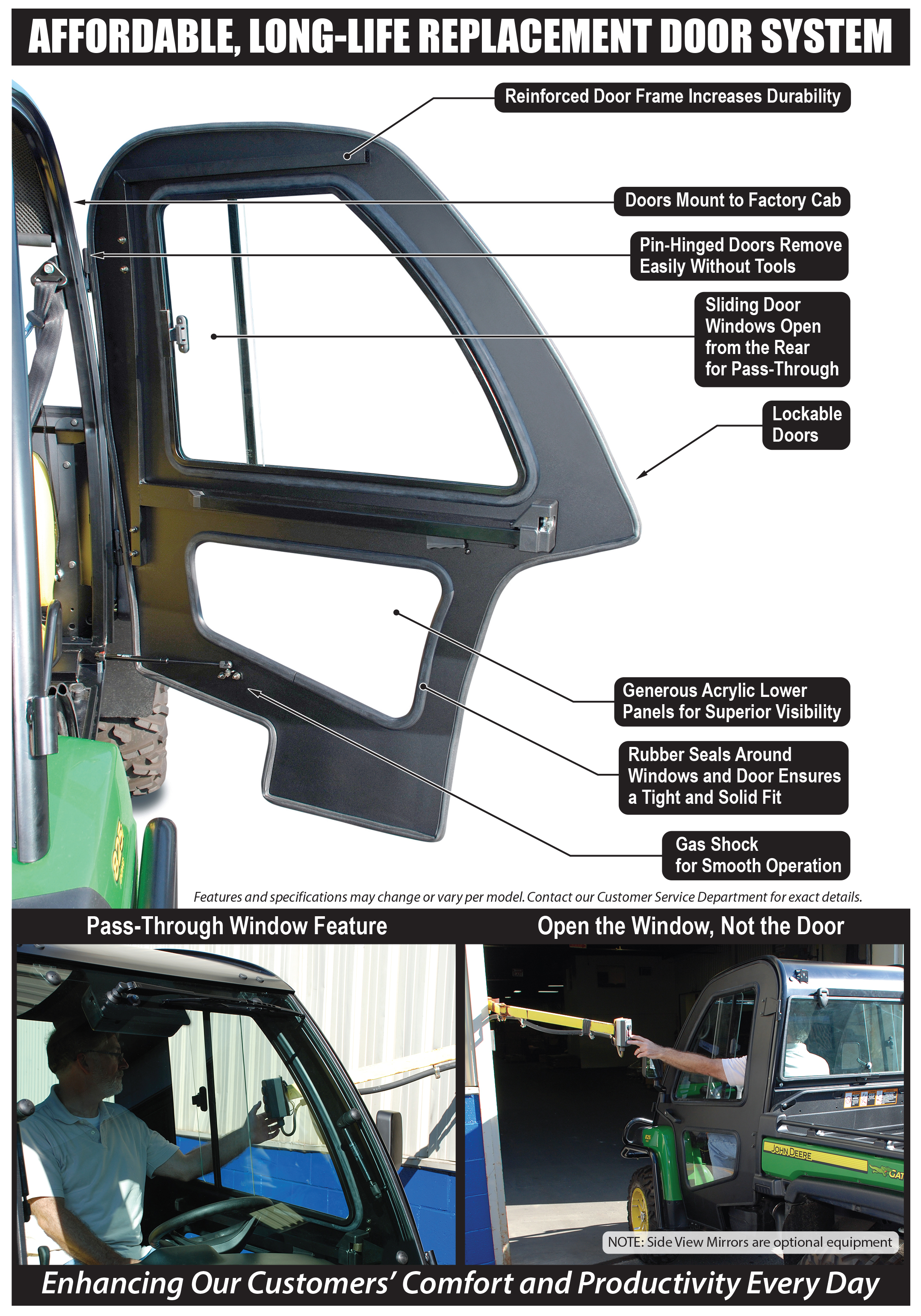 Aluminum Replacement Doors For Deluxe Cab Xuv Gators