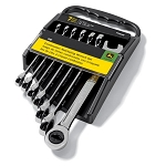 John Deere SAE 7-piece Full Polished Combination Ratcheting Wrench Set