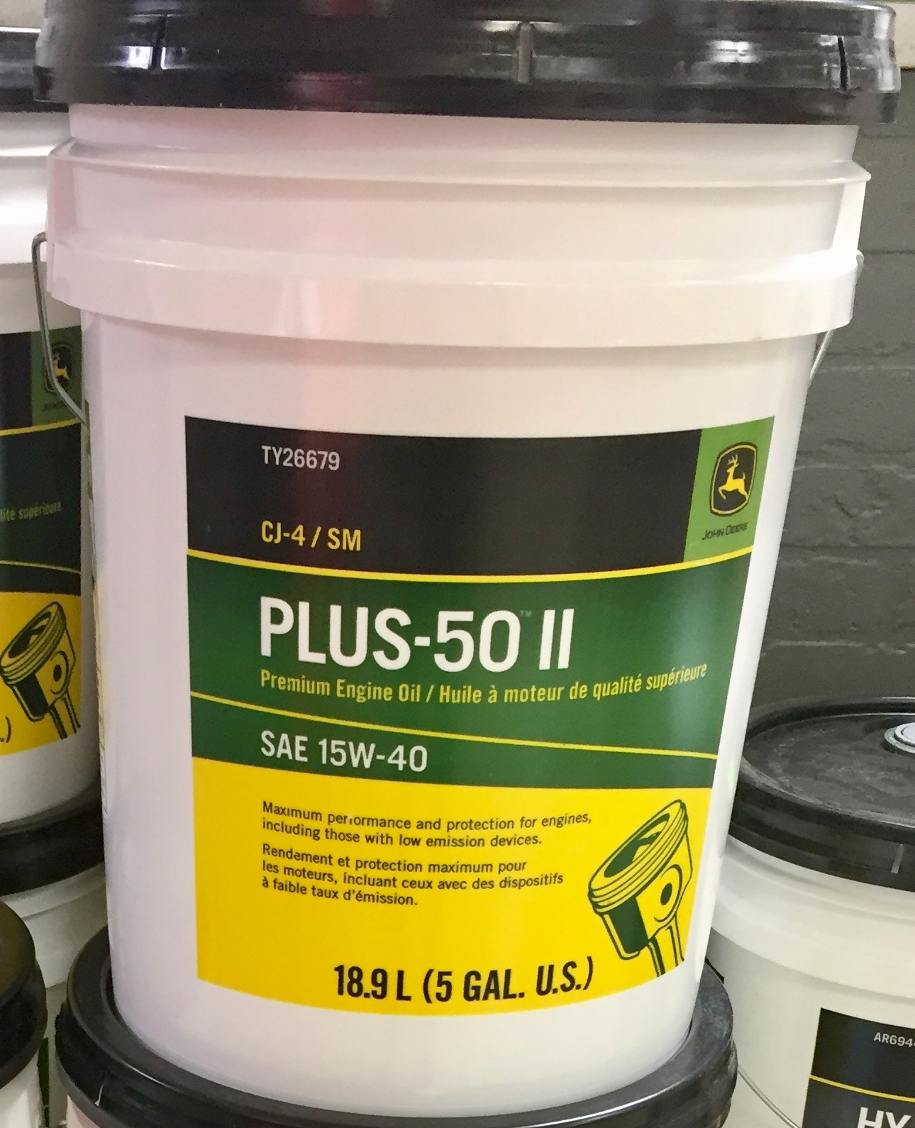 John Deere Plus-50 II CJ-4 Diesel Motor Oil 15W-40 5 Gallon Bucket TY26679