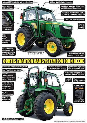 Curtis Premium All Steel Cab For John Deere 4044R 4052R and 4066R Tractors