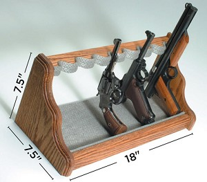 Liberty 8 Gun Oak Pistol Rack Silver